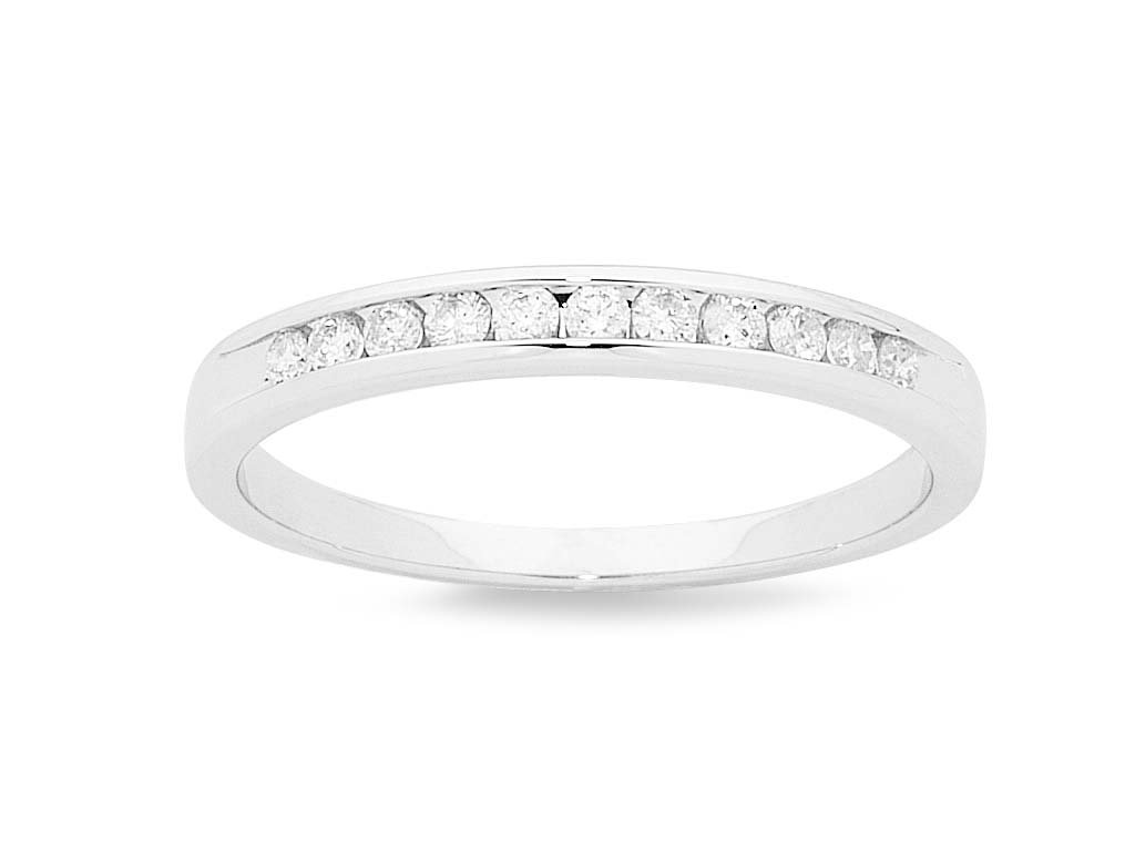 Brilliant Channel Set Eternity Ring with 1/4ct of Diamonds in 18ct White Gold Rings Bevilles