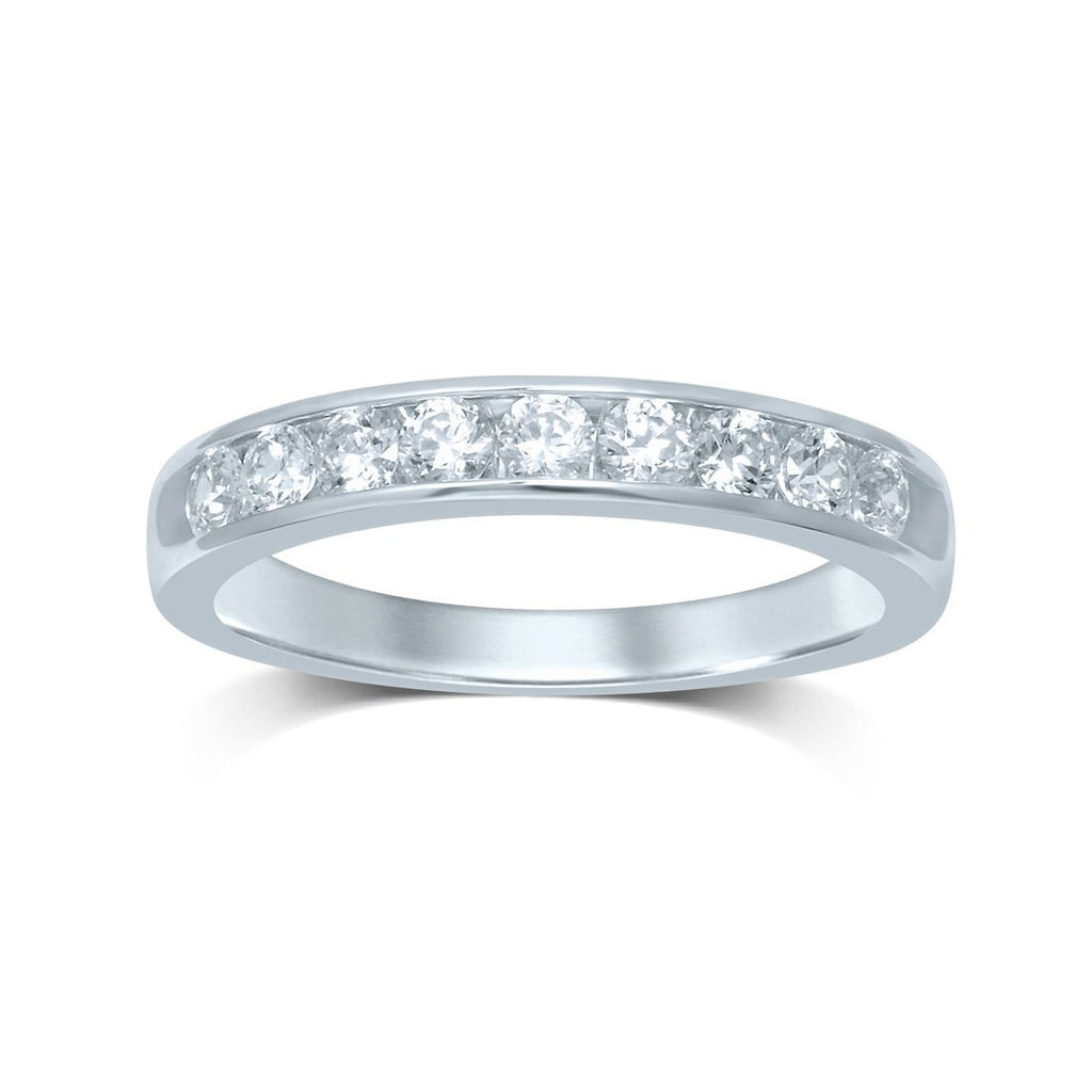 9ct White Gold 0.50ct Brilliant Channel Ring Rings Bevilles