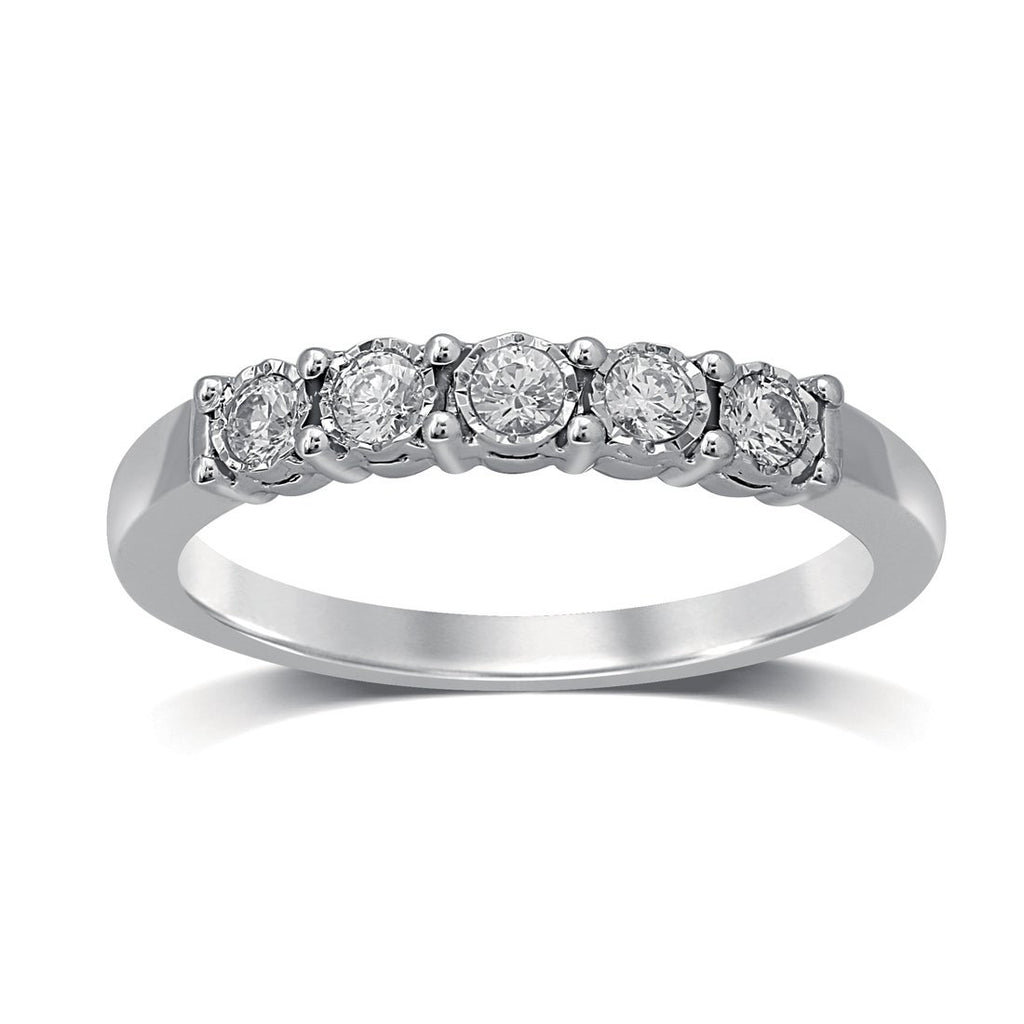 18ct White Gold 0.25ct Miracle Set Diamond Eternity Ring Rings Bevilles