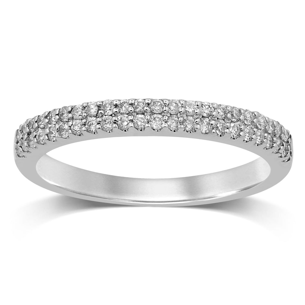 Double Row Ring with 1/4ct of Diamonds in 9ct White Gold Rings Bevilles