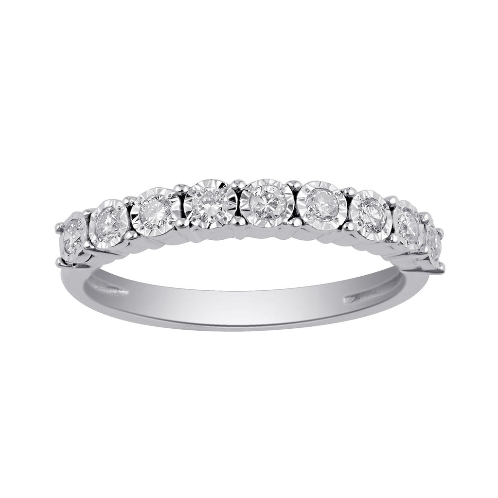Miracle Eternity Ring with 1/4ct of Diamonds in 9ct White Gold Rings Bevilles