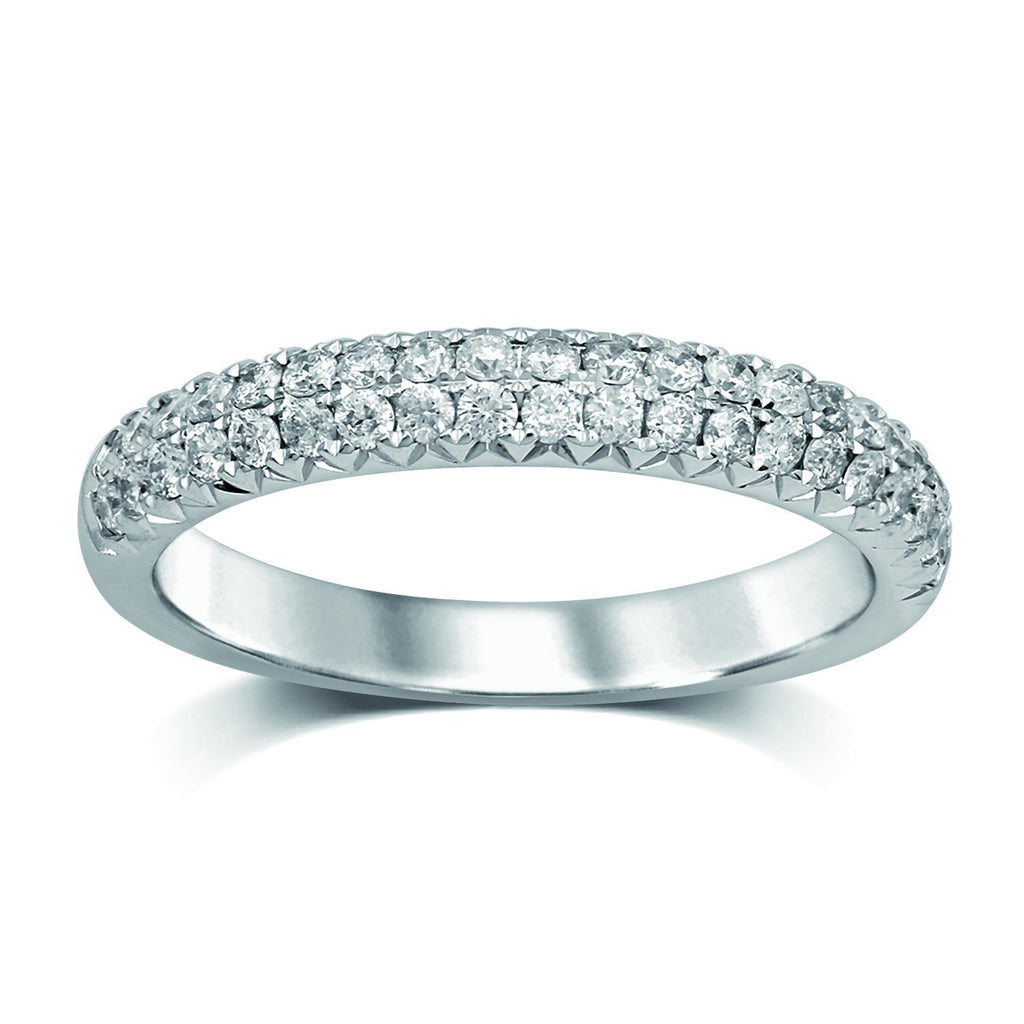 French Pave Eternity Ring with 1/2ct of Diamonds in 18ct White Gold Rings Bevilles