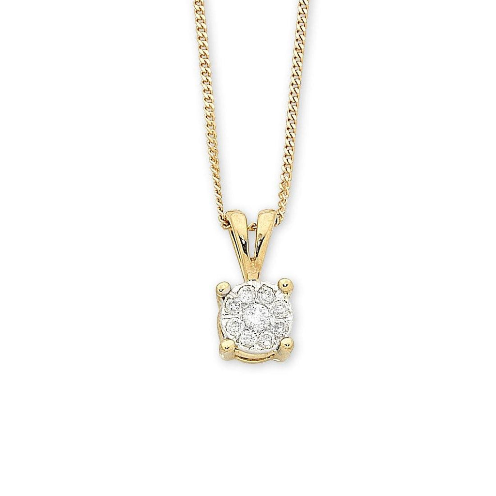 9ct Yellow Gold Diamond Pendant Necklaces Bevilles