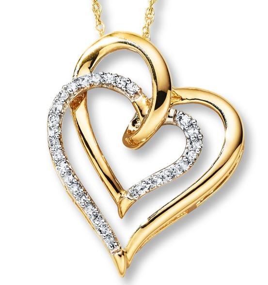 Brilliant Claw and Plain Double Heart Necklace with 0.10ct of Diamonds in 10ct Yellow Gold