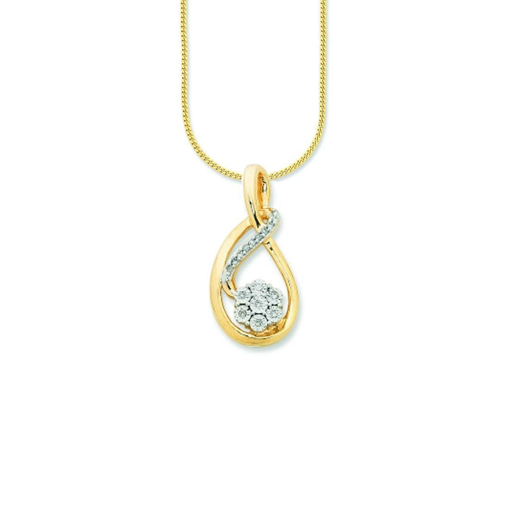 9ct Yellow Gold Diamond Set Necklace