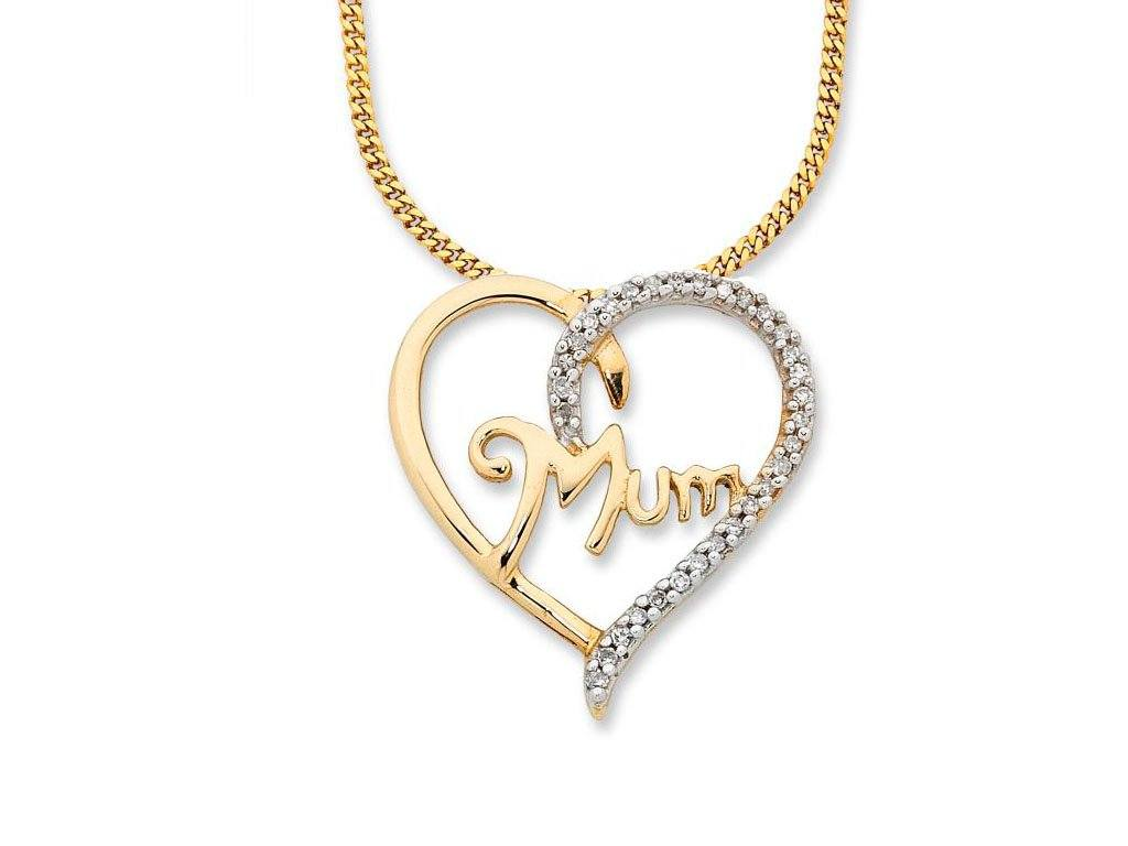9ct Yellow Gold Diamond Set Mum Necklace