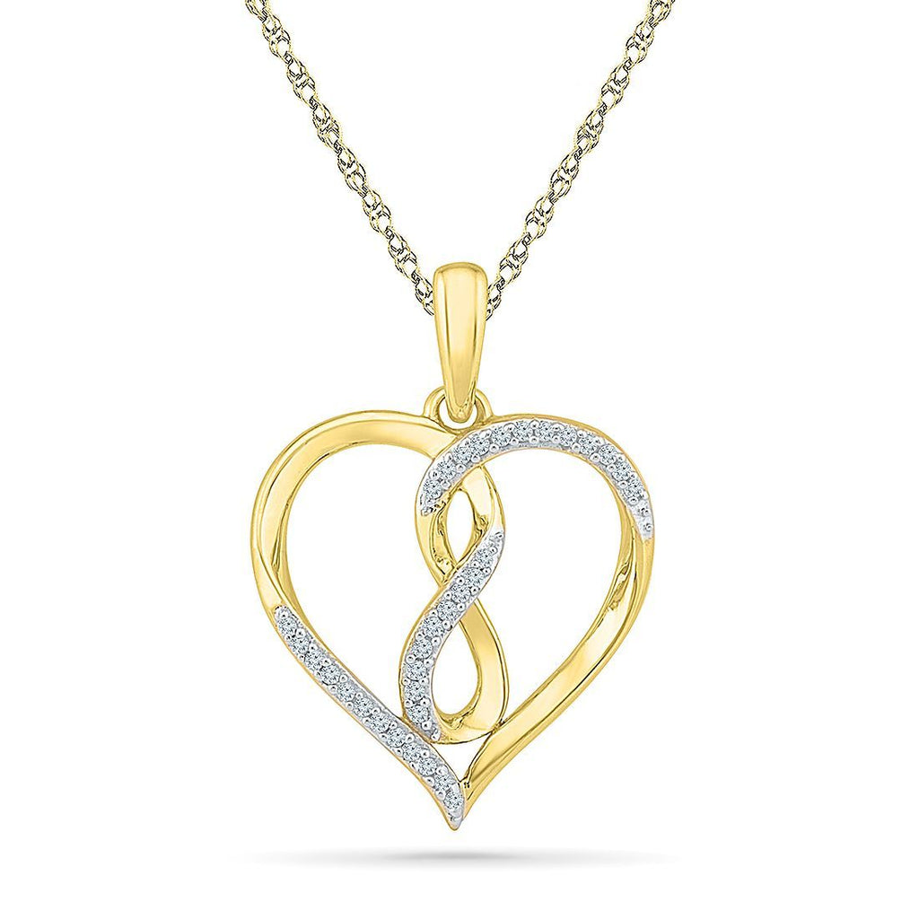 9ct Yellow Gold 0.10ct Diamond Infinity Heart Necklace Necklaces Bevilles