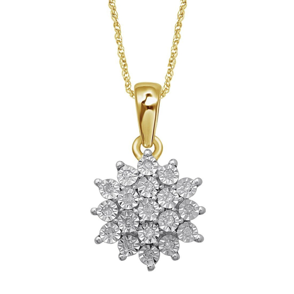 9ct Yellow Gold Star Cluster Diamond Necklace Necklaces Bevilles
