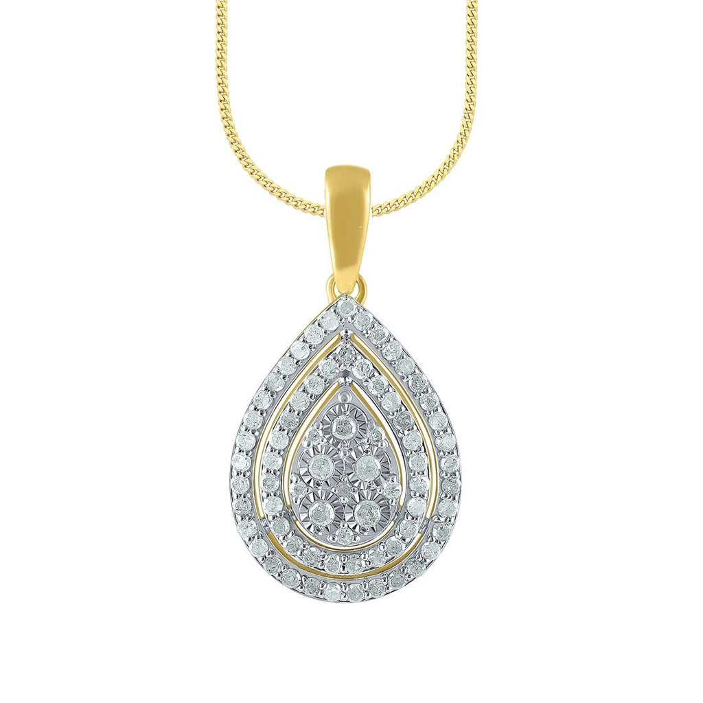 9ct Yellow Gold 0.50ct Pear Diamond Pendant Necklaces Bevilles