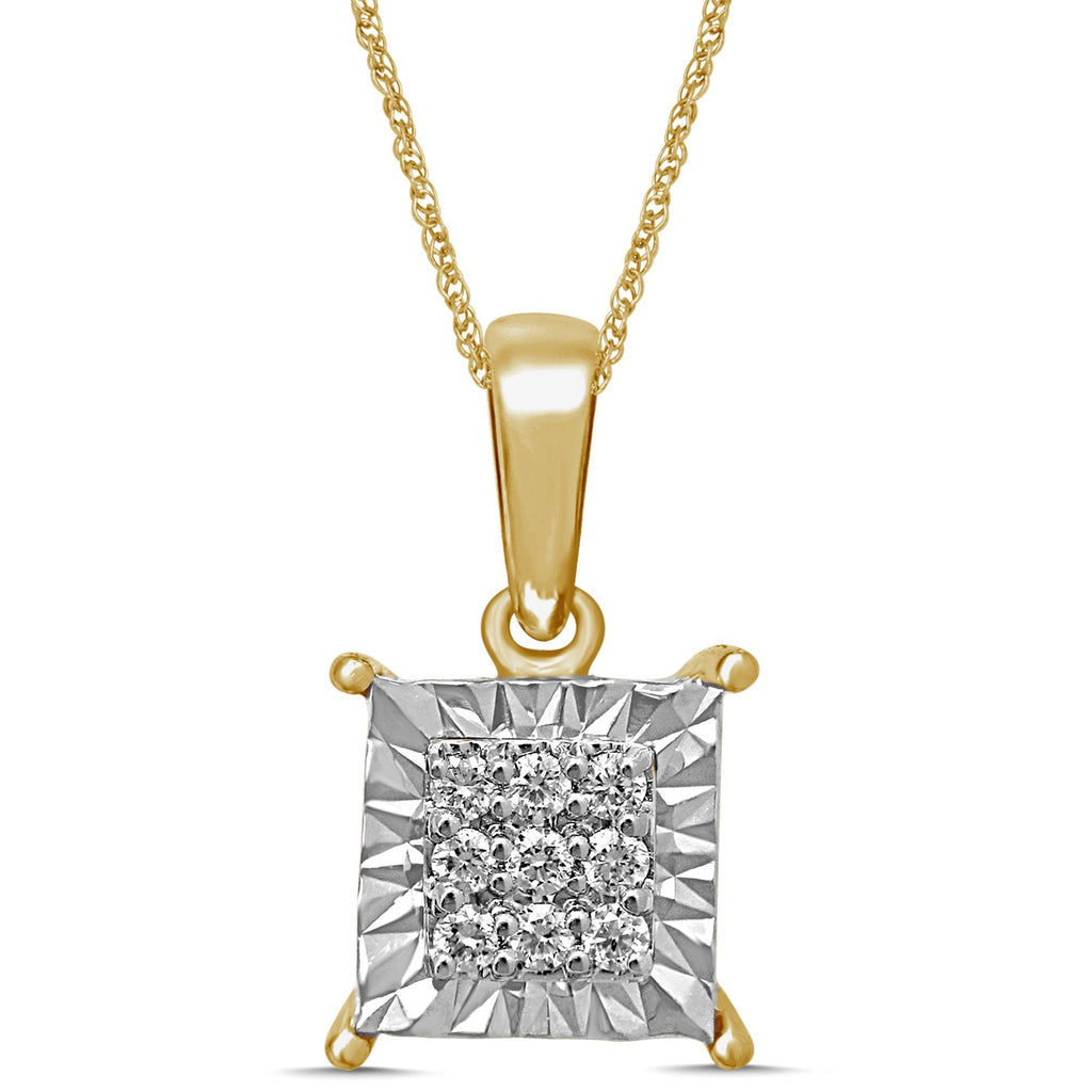 Brilliant Claw Square Look Necklace with 0.10ct of Diamonds in 9ct Yellow Gold Necklaces Bevilles