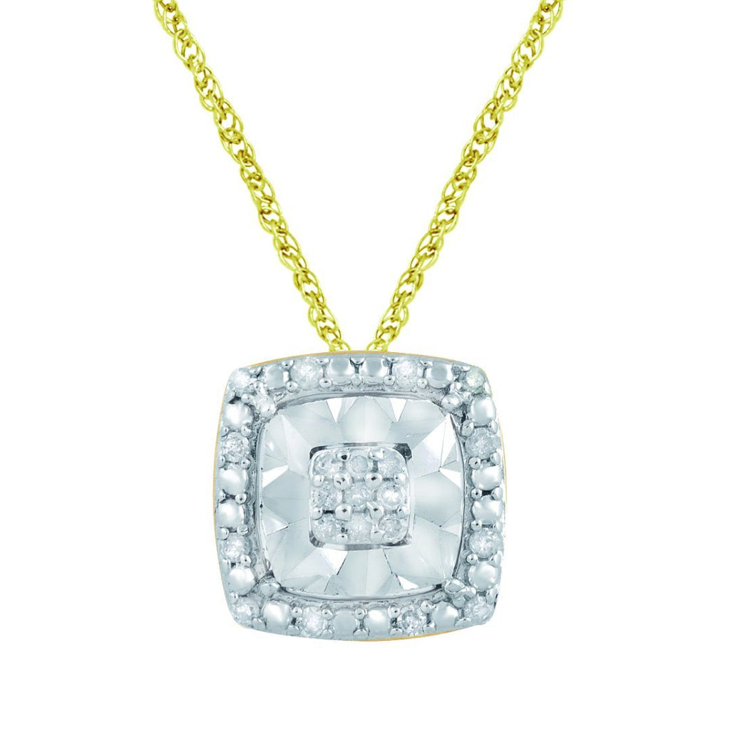 Brilliant Halo Square Necklace with 0.10ct of Diamonds in 9ct Yellow Gold