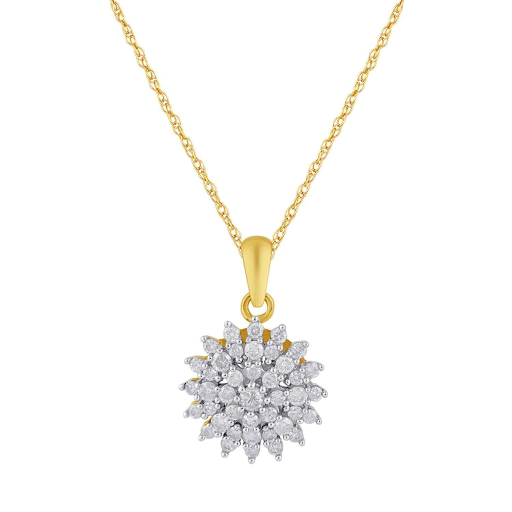 9ct Yellow Gold Cluster Necklace with 0.50ct of Diamonds Necklaces Bevilles