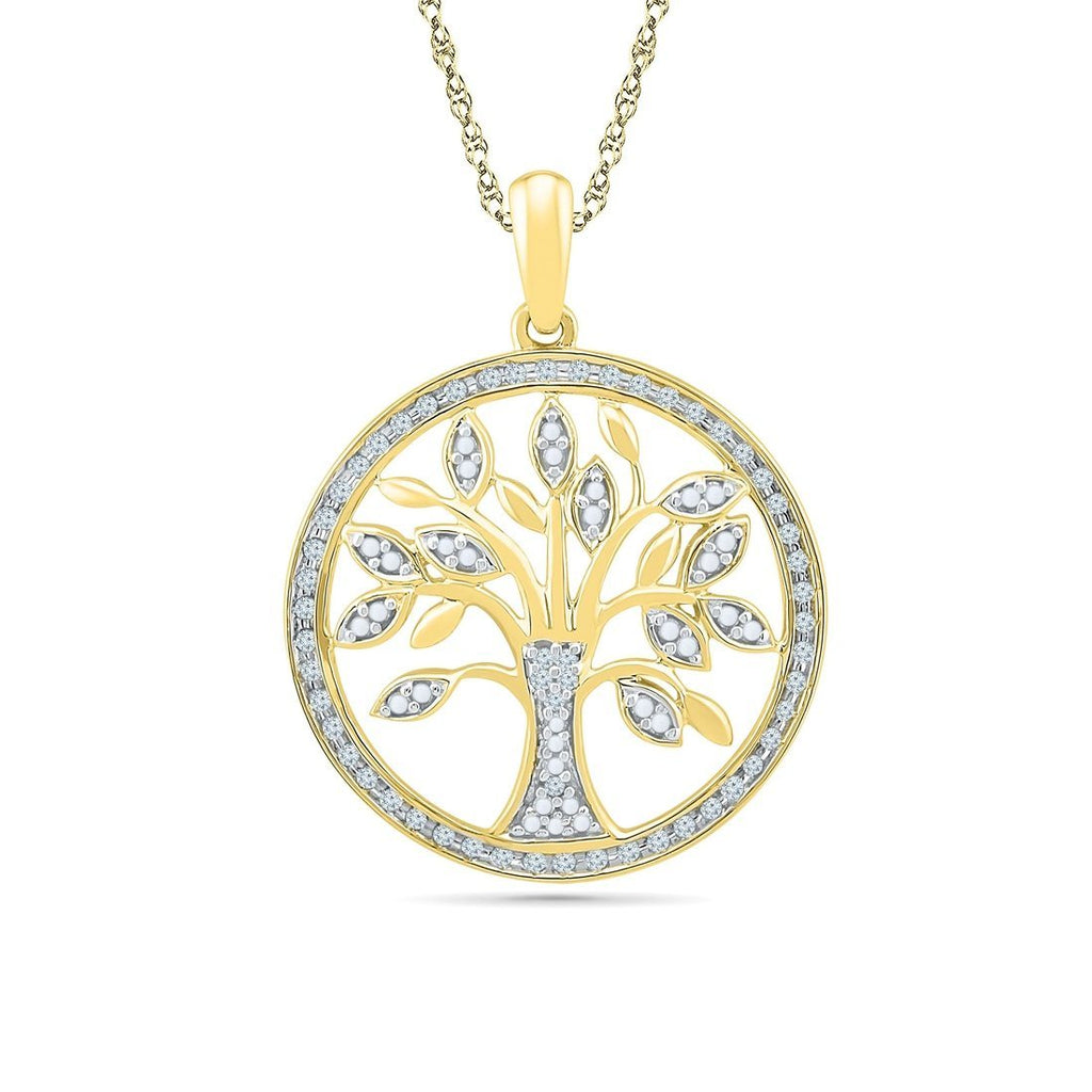 9ct Yellow Gold 0.16ct Diamond Tree of Life Necklace