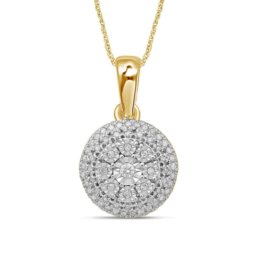 9ct Yellow Gold 0.25ct Diamond Brilliant Illusion Pendant