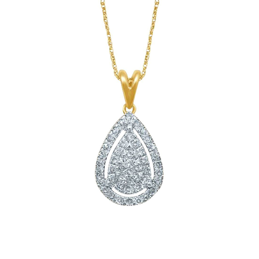 9ct Yellow Gold 0.25ct Pear Shape Diamond Pendant Necklaces Bevilles