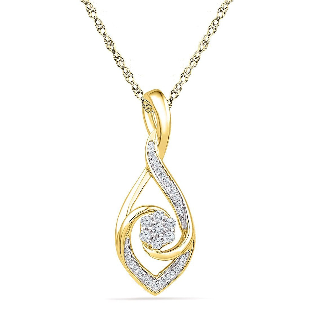 9ct Yellow Gold 0.16ct Diamond Twist Pendant