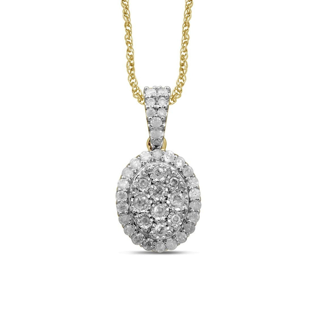 9ct Yellow Gold 0.50ct Diamond Miracle Claw Oval Stud Pendant Necklaces Bevilles