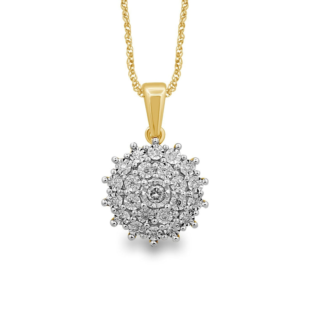 9ct Yellow Gold Flower Necklace with 0.25ct of Diamonds Necklaces Bevilles