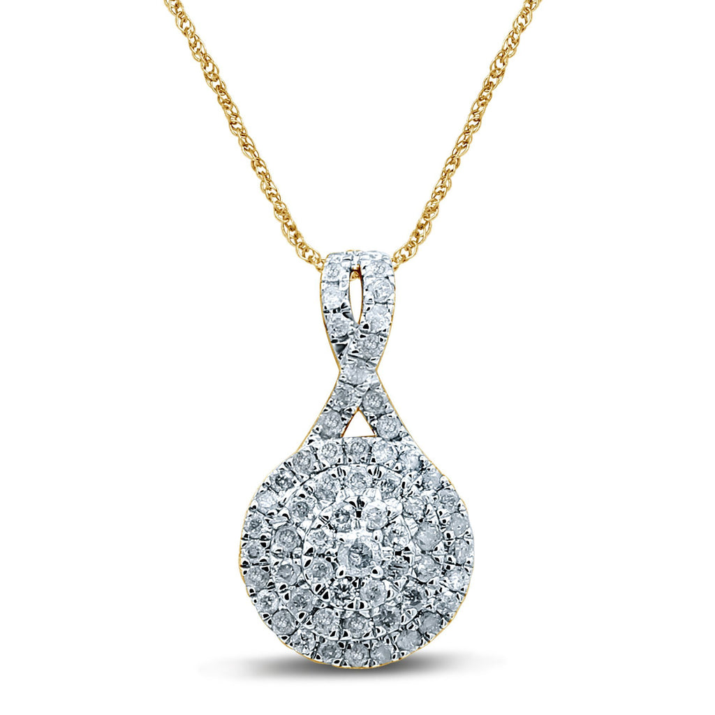 Brilliant Halo Crossover Necklace with 1/2ct of Diamonds in 9ct Yellow Gold