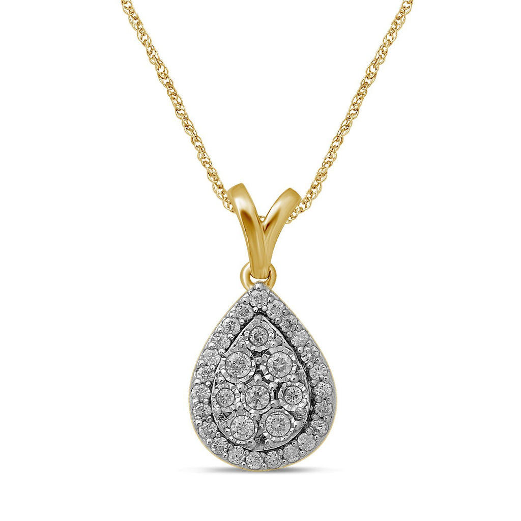 Brilliant Halo Pear Necklace with 1/4ct of Diamonds in 9ct Yellow Gold