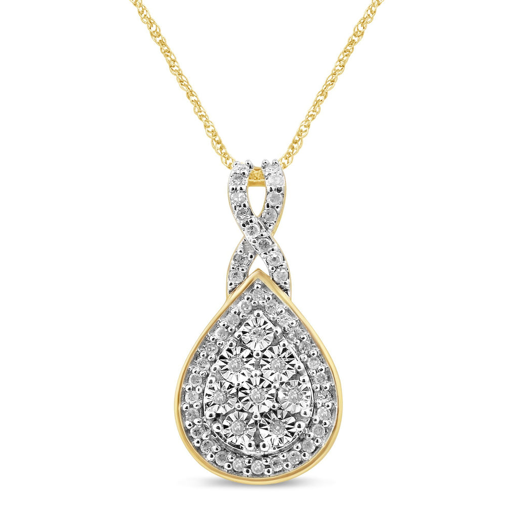 Miracle Plate Halo Necklace with 1/5ct of Diamonds in 9ct Yellow Gold Necklaces Bevilles