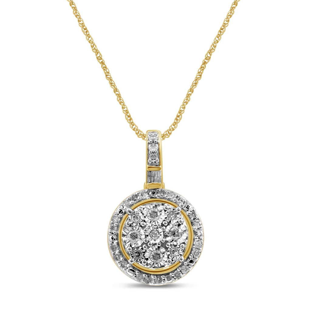 Halo Necklace with 1/5ct of Diamonds in 9ct Yellow Gold Necklaces Bevilles