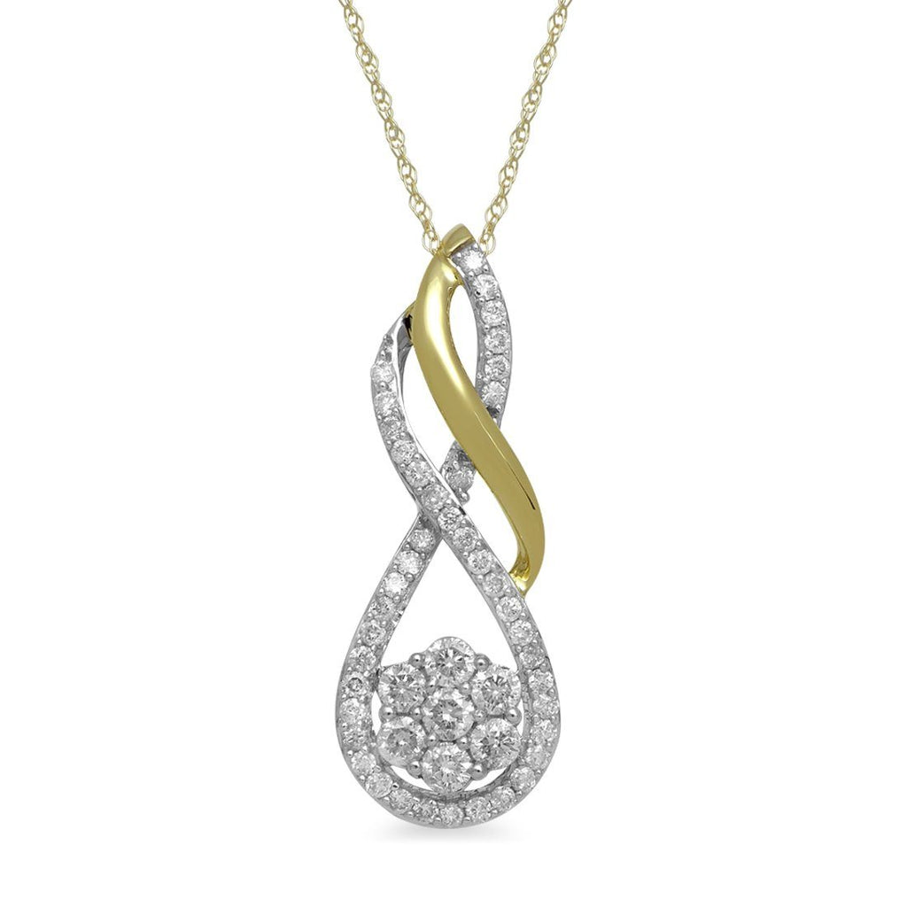 9ct Yellow Gold 0.50ct Diamond Flower Necklace Necklaces Bevilles