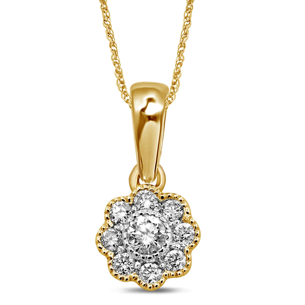 Brilliant Milgrain Flower Necklace with 1/3ct of Diamonds in 9ct Yellow Gold Necklaces Bevilles