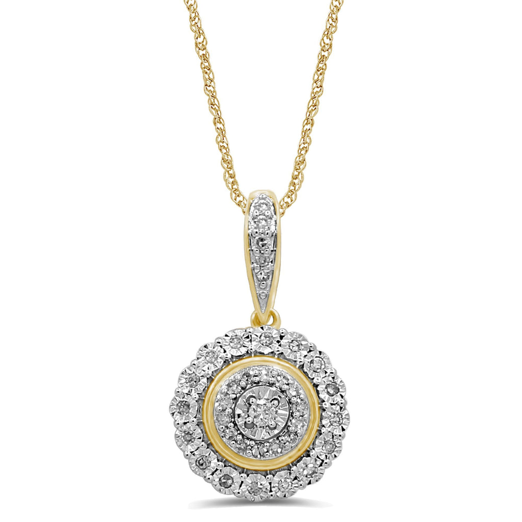 Composite Double Halo Necklace with 1/5ct of Diamonds in 9ct Yellow Gold Necklaces Bevilles