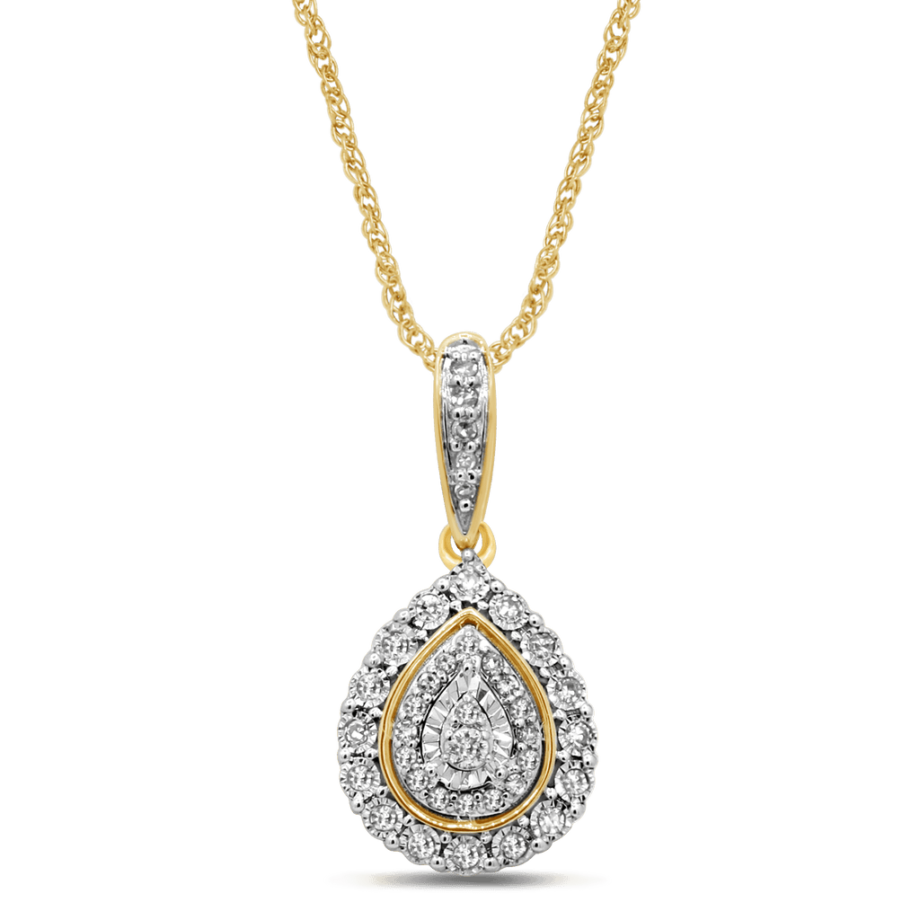 Pear Composite Necklace with 1/5ct of Diamonds in 9ct Yellow Gold Necklaces Bevilles