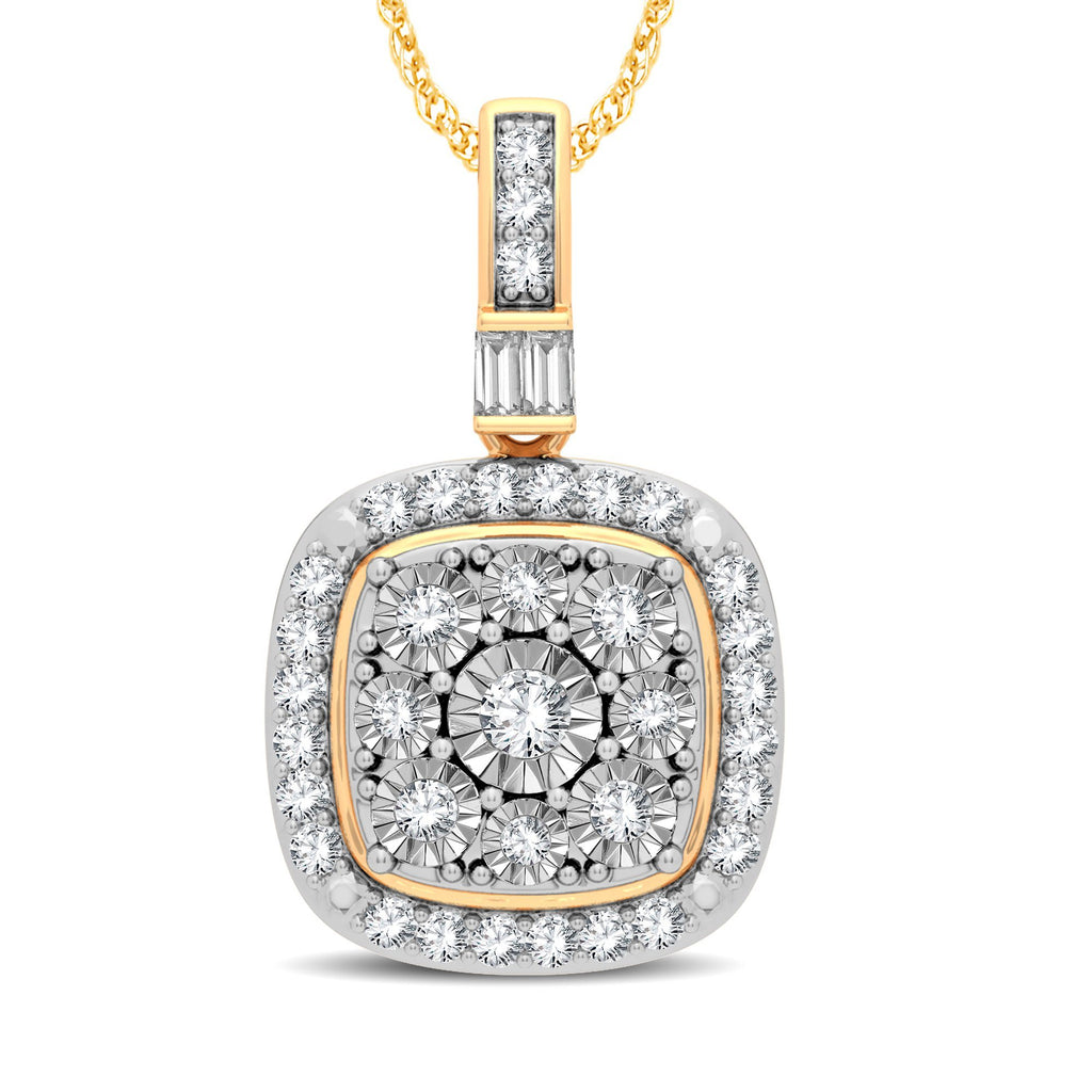 Cushion Shape Halo Necklace with 1/5ct of Diamonds in 9ct Yellow Gold Necklaces Bevilles