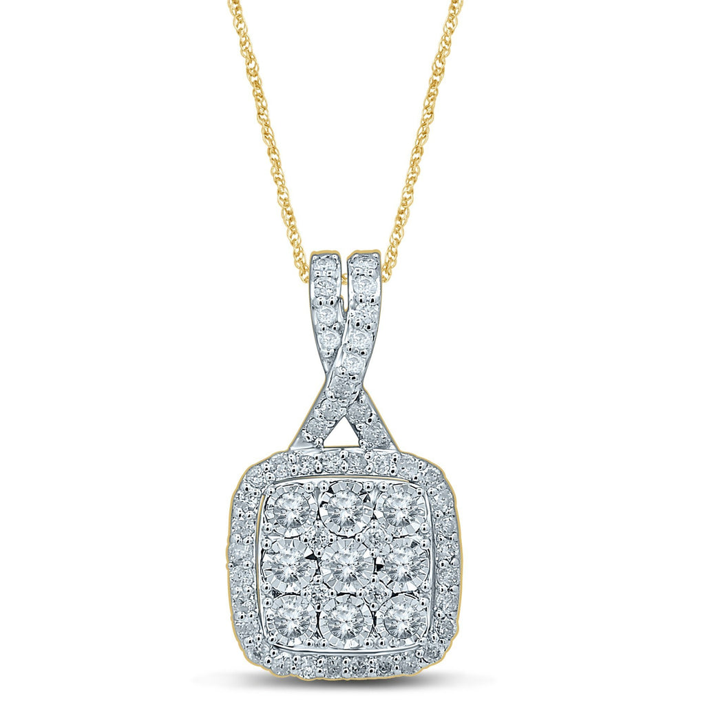 Square Look Necklace with 3/4ct of Diamonds in 9ct Yellow Gold Necklaces Bevilles