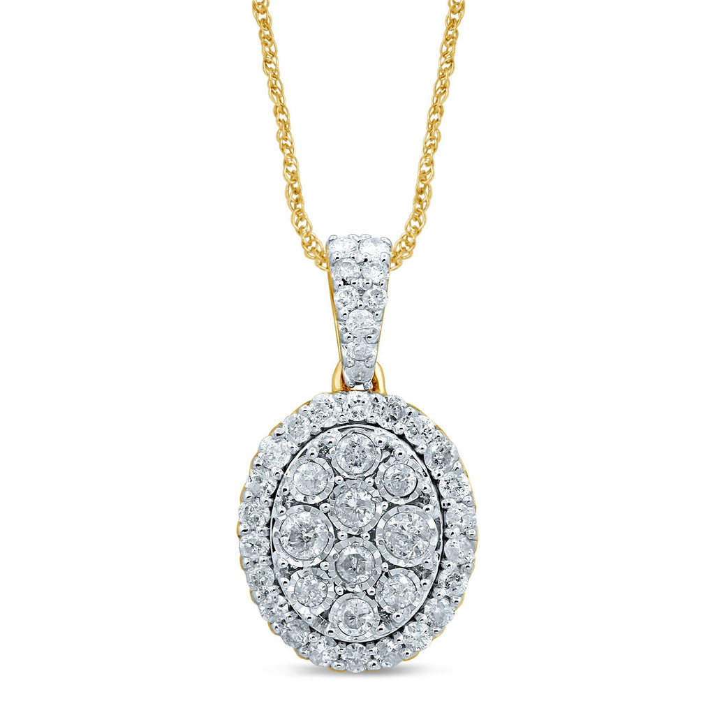Miracle Oval Necklace with 3/4ct of Diamonds in 9ct Yellow Gold Necklaces Bevilles