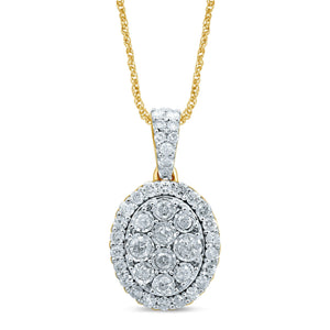 Miracle Oval Necklace with 3/4ct of Diamonds in 9ct Yellow Gold