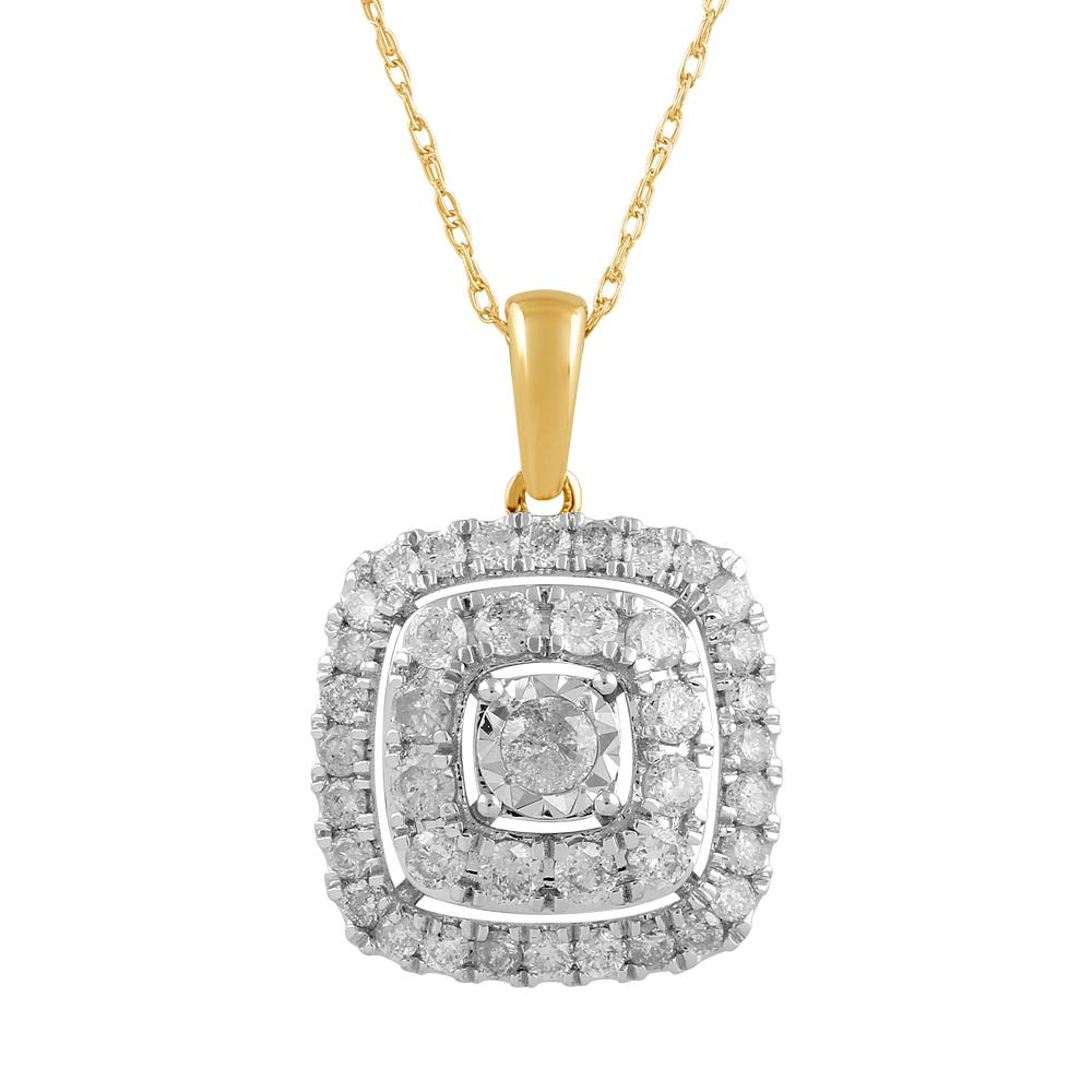 Brilliant Solitaire Halo Square Necklace with 1.00ct of Diamonds in 9ct Yellow Gold Necklaces Bevilles