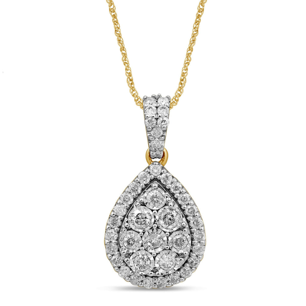 Miracle Pear Shape Halo Necklace with 3/4ct of Diamonds in 9ct Yellow Gold Necklaces Bevilles
