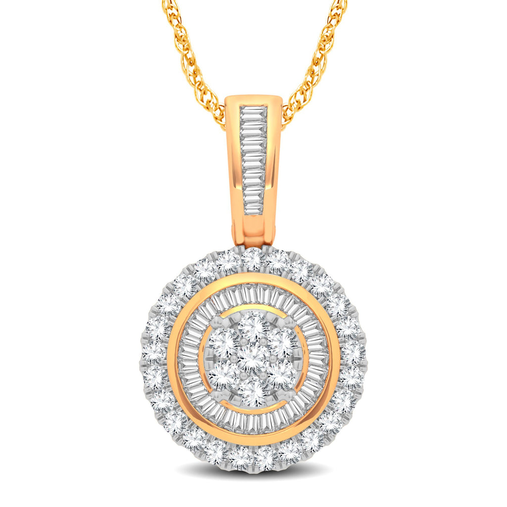 Halo Necklace with 3/4ct of Diamonds in 9ct Yellow Gold Necklaces Bevilles