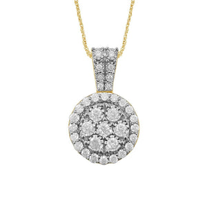Brilliant Miracle Halo Necklace with 1.00ct of Diamonds in 9ct Yellow Gold
