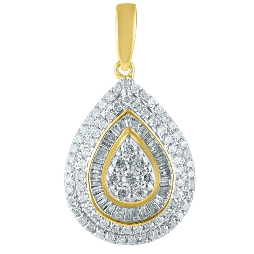 9ct Yellow Gold Pear Shape Pendant wih 0.63ct of Diamonds Necklaces Bevilles