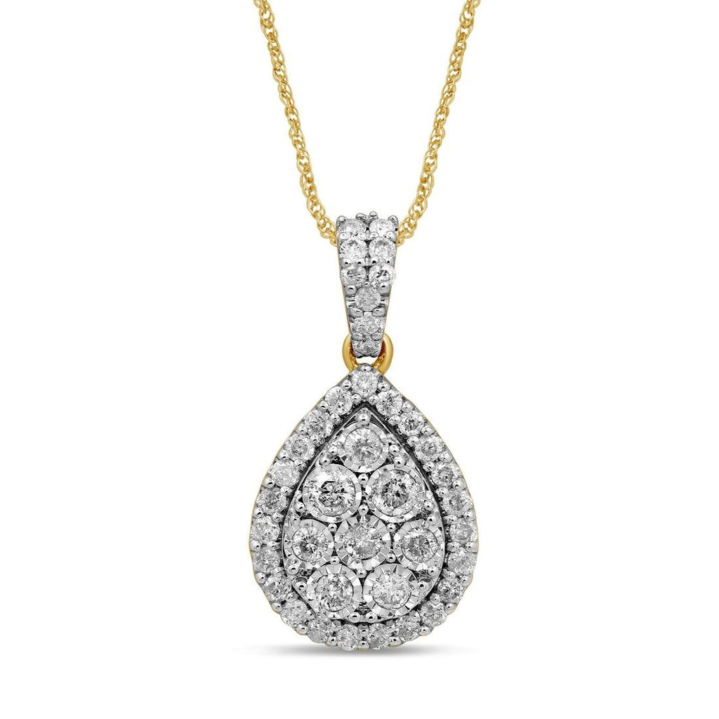 9ct Yellow Gold Pear Shape Halo Necklace with 1.00ct of Diamonds