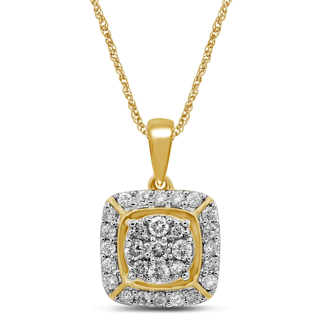 Brilliant Halo Square Look Necklace with 1.00ct of Diamonds in 9ct Yellow Gold Necklaces Bevilles