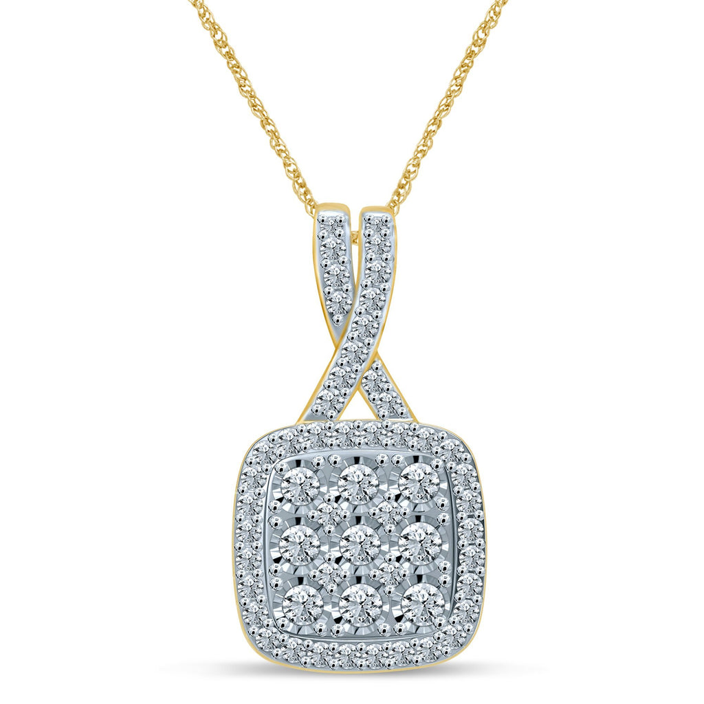 Brilliant Square Halo Necklace with 1.00ct of Diamonds in 9ct Yellow Gold Necklaces Bevilles
