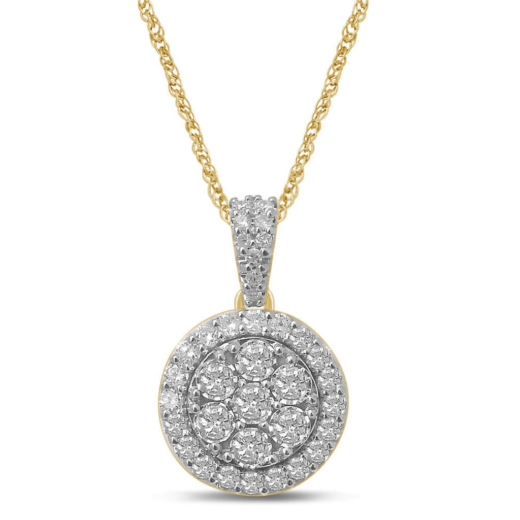 Brilliant Miracle Halo Necklace with 1.00ct of Diamonds in 9ct Yellow Gold Necklaces Bevilles