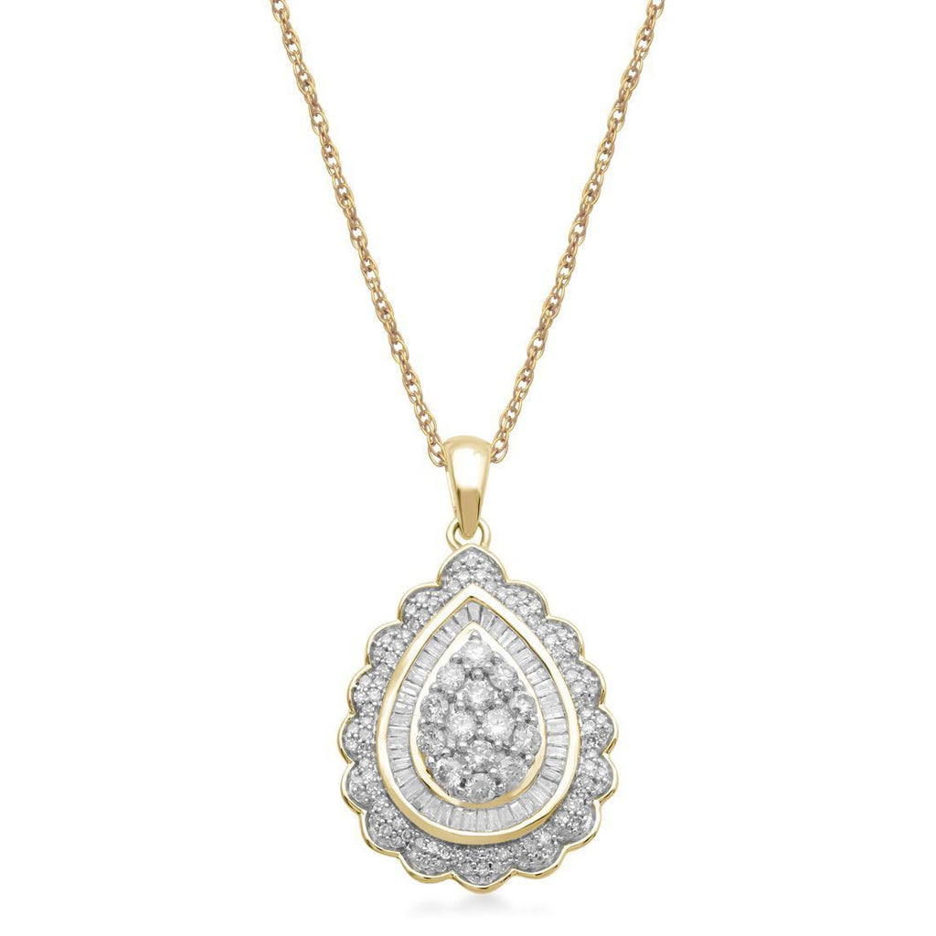 9ct Yellow Gold Necklace with 1.00ct of Diamonds Necklaces Bevilles