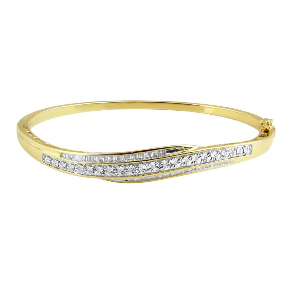 9ct Yellow Gold 0.50ct Diamond Bangle Bracelets Bevilles