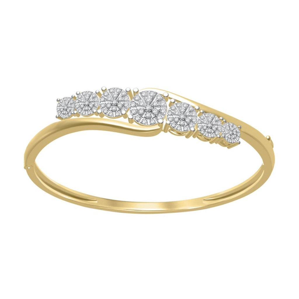 Martina Halo 7 Station Bangle with 1.25ct of Diamonds in 9ct Yellow Gold Bracelets Bevilles