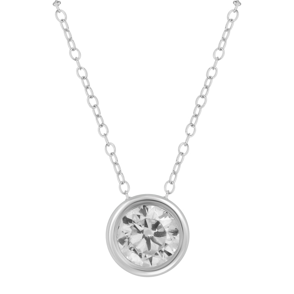 Tia 1/4ct Brilliant Solitaire Diamond Necklace in 14ct White Gold Necklaces Bevilles