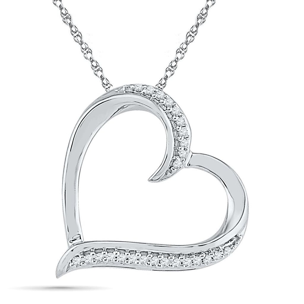 9ct White Gold Heart Necklace with 0.05ct of Diamonds