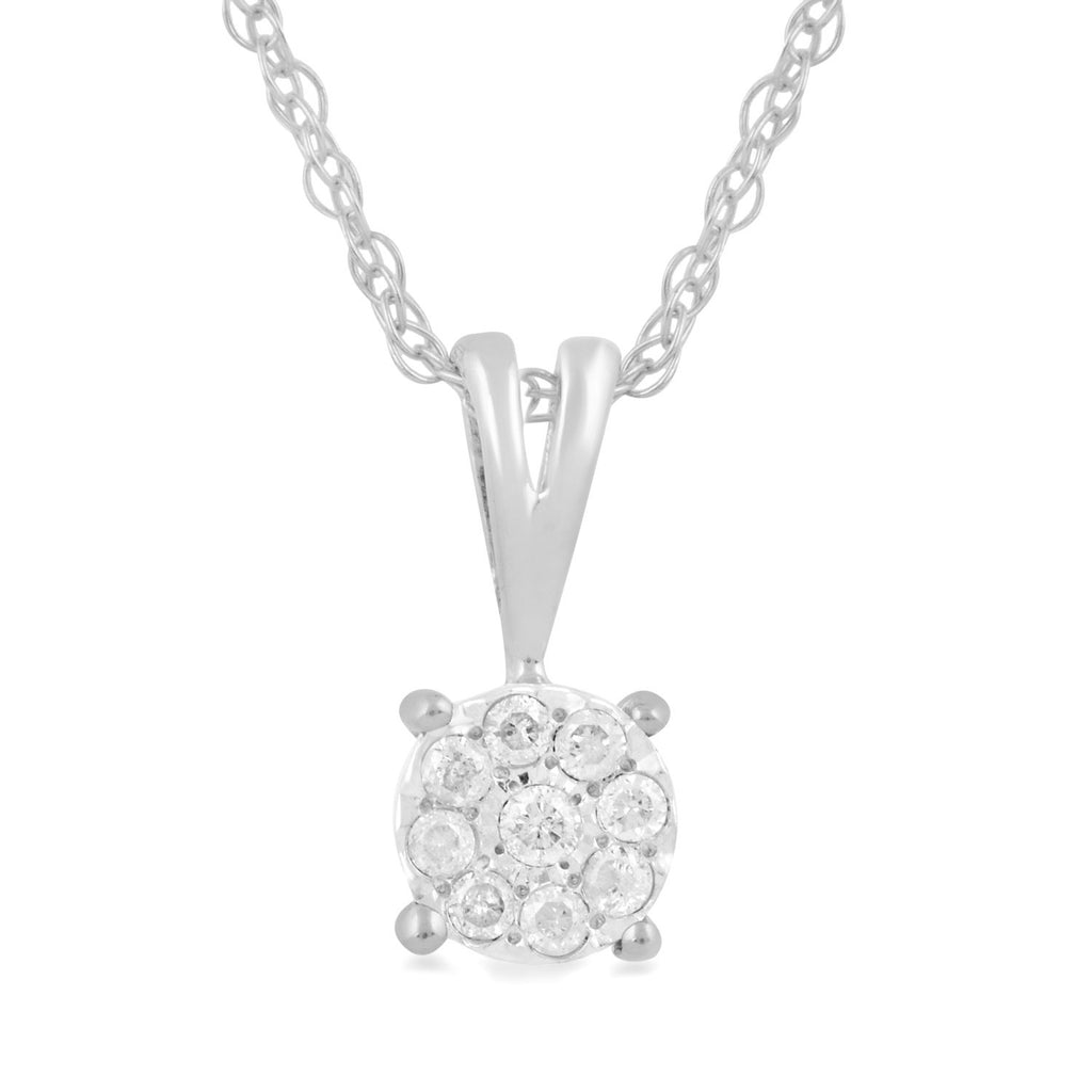 Solitaire Look Necklace Diamond Set in 9ct of White Gold Necklaces Bevilles