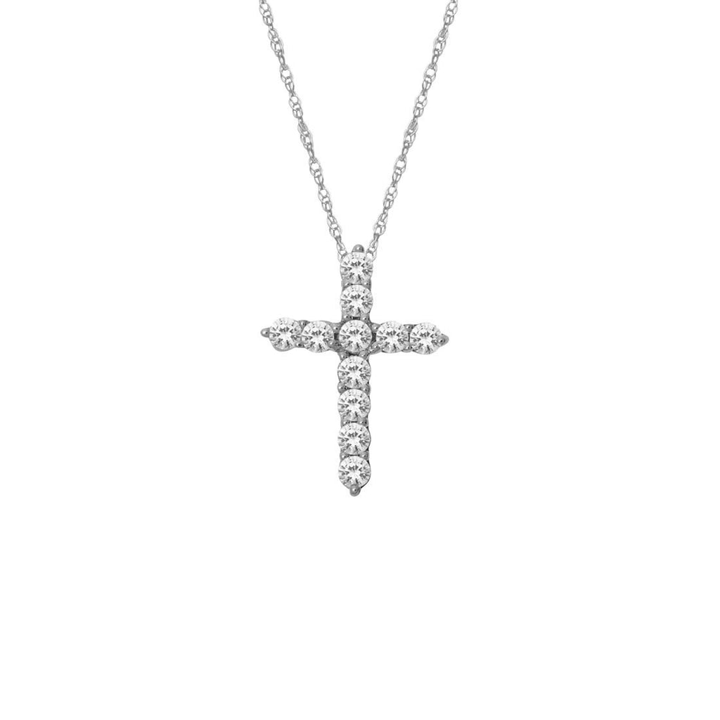 9ct White Gold Diamond Set Cross Necklace